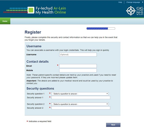 My Health Online - Register